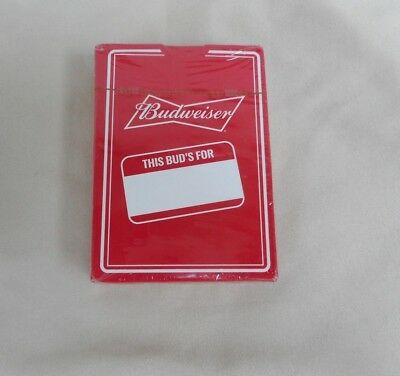 BUDWEISER BEER DECK of NEW SEALED PLAYING CARDS in BOX This Bud's For You~NOS