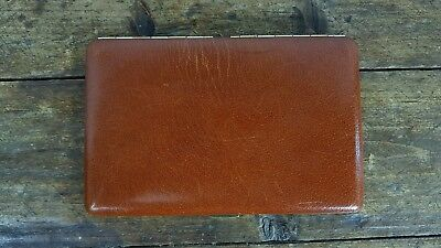 VINTAGE 1960s TALLENT BROWN BIFOLD CIGARETTE CASE LEATHER WALLET MADE IN ENGLAND