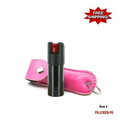 PINK Police Magnum .50oz Artificial Leather Case Key Chain Pepper Spray