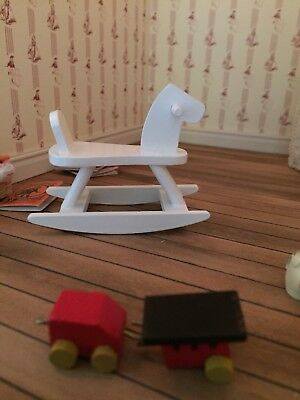 1:12 Scale Dolls House  nursery toy  Rocking Horse Chair White