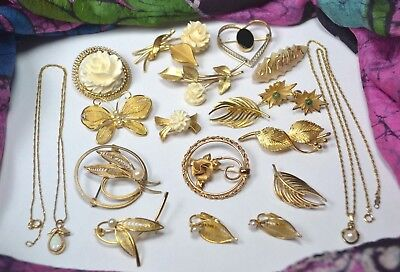 Vtg 12k & 14k GF Lot Brooch Earrings Krementz WELLS Carved Flowers Opal Pearl