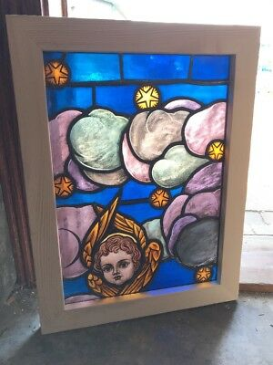 SG 2492 antique painted and fired Stainglass window angel cherub gold wings sta…