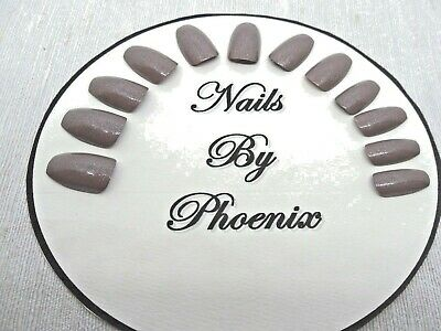 hand painted full cover latte dew coffin shaped false nails,choice of sizes