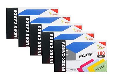 5-Pack Ruled Colored Index Cards 3x5-Inch, Canary-Cherry-Green-Blue