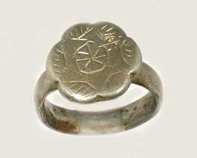"Ancient Engraved Silver Roman Syria Ring Six-Sided ""Star of David"" Sz 9½ AD400"