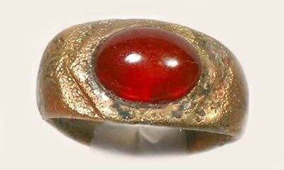 AD300 Ancient Roman Moesia Bulgaria Ring Sz5½ + 19thC Antique 3¾ct Carnelian Gem