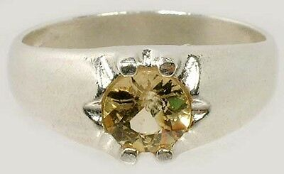 RARE COLLECTOR'S GEM 19thC Antique ¾ct+ Siberian Yellow Danburite Sterling Sz 9