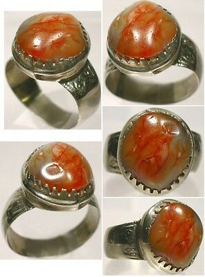 Antique Ornate 18thC Renaissance Russia Silver Orange Agate Gemstone Ring Size 9