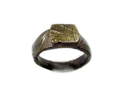 Genuine Roman Celtic Engraved Abstract Floral Motif Bronze Ring Size 7¾ AD300