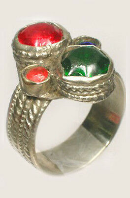 18thC Crimean Tatars Silver Ring Ruby Red + Emerald Green Color Glass Gems Sz10½