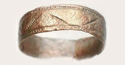 AD1000 Ancient Medieval Roman Greek Byzantine Macedon Engraved Bronze Band Sz9½