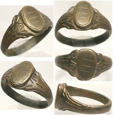 AD1200 Roman Byzantine Constantinople Crusader Engraved Faux Gemstone Ring Sz 10