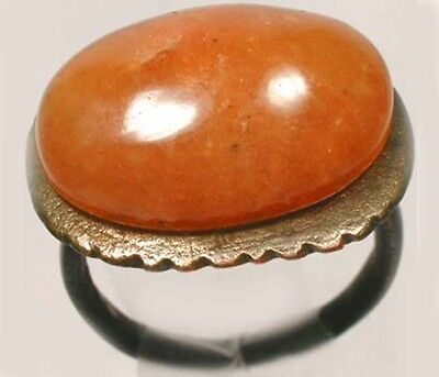 AD300 Ancient Roman Pannonia (Hungary) Ring Sz5+ Antique19thC 10ct Orange Agate