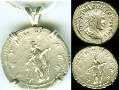 AD244 Plata Romano Denario Moneda Emperador Philip The Arab + Joy Goddess