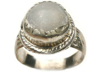 18thC Antique Russian Ukraine Crimean Tatars Silver Ring White Quartz Agate Sz9