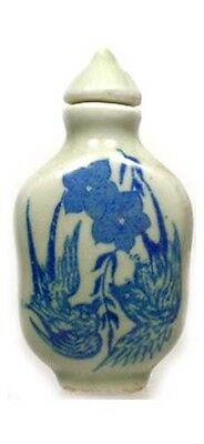 Antique 19thC China Blue + Green Ming Style Porcelain Floral Motif Snuff Bottle