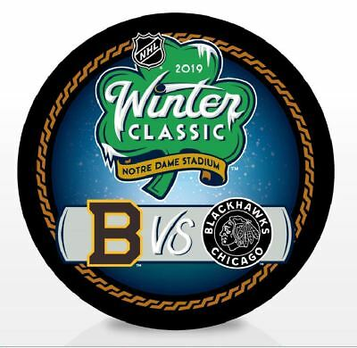 2019 Winter Classic Puck Dueling Chicago Blackhawks Boston Bruins Patch Style