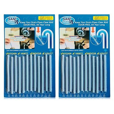 24/Pack Sani Sticks Keeps Drains And Pipes Clear And Odor As Seen On TV