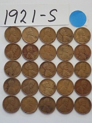 1921-S Solid Date 25 Pennies= Half Roll Of Lincoln Wheat Cents