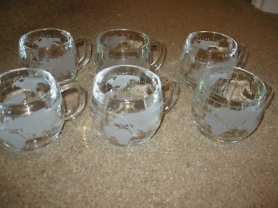 Lot of 6 (SIX) Nestle Glass Mugs World Map/Globe