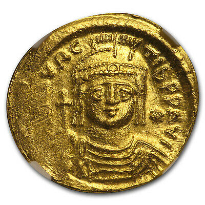 Byzantine Gold Solidus Maurice Tiberius (582-602 AD) MS NGC - SKU#173582