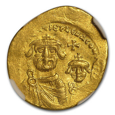 Byzantine Gold Solidus Emp. Heraclius & Her. (613-641 AD) XF NGC - SKU#173590
