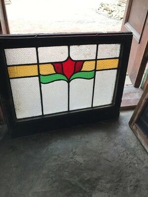 SG 2505 antique Stainglass transom window red flower 26 x 20 Hi