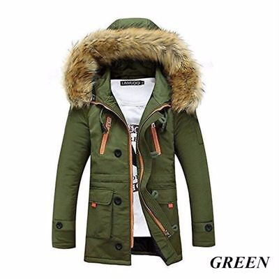 Mens Warm Jacket Cotton Coat Womens Windproof Parka Hooded Winter Outwear Tops