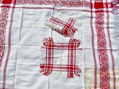 Antique Turkey Red Linen Damask Tablecloth and 6 Napkins