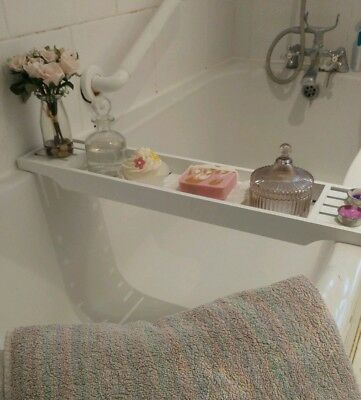 WOODEN WHITE BATH Rack Caddy Over The Bath Tray - £21.00 | PicClick UK
