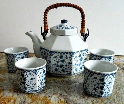 Japanese Tea Set - Teapot And 4 Cups White With Blue Floral Signed