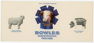 Blotter, Omaha Stock Yards, Bowles Livestock Commission Co., Nice Graphics