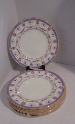 "7 Royal Cauldon 8.25"" Salad Plates - Roses, Floral Swags, Blue Band"