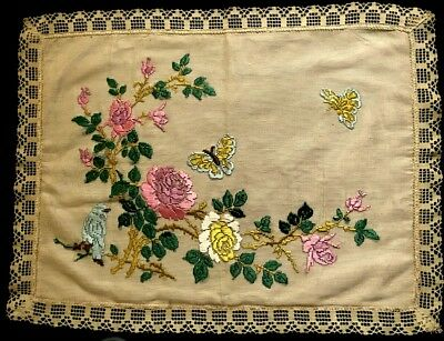 """Antique Remnants Salvage of Pillowcase Cover Han  Embroidery on the Net 25"""" x"""