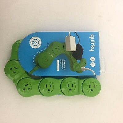 Quirky Flexible 6 Outlets Power Strip Cord With Surge Protector Lime Green