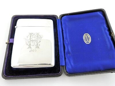Fine quality BOXED SILVER CARD CASE, Birmingham 1901 LOWE & SON Chester STERLING