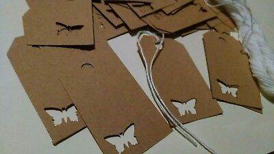 50 rustic Brown butterfly hand punched retail price tags or gift tags
