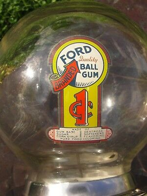 1C Glass Globe Ford Branded Gumball Machine With Key + Pre 1959 Wheat Pennies