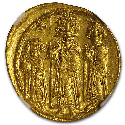 Byzantine Gold Solidus Emp Heraclius,Her,Con. (632-641 AD) MS NGC - SKU#173282