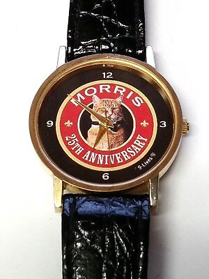 9 LIVES Morris The Cat 25th Anniversary Wrist Watch Black Leather Band