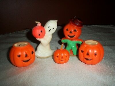 Vintage 1950's Gurley Halloween Ghost, Scarecrow,  3 Jack-o-Lanterns Candles