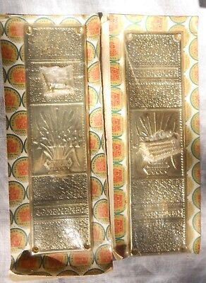 Pair (2) Aesthetic Movement Victorian Style Brass Door Push Plates Ren.'s Supply