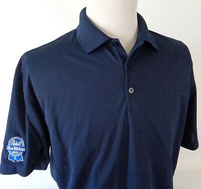 Nike Golf Large Dri Fit Polo Shirt PBR Pabst Blue Ribbon Beer Patch Stretch S/S