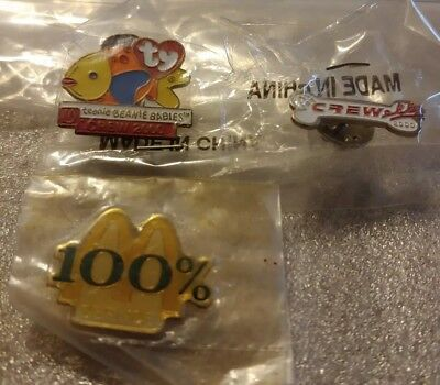 Lot of 3 Mixed McDonald's 1980's to 2000 Collectible Lapel Pins(N)