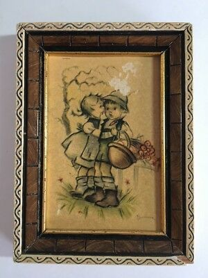 Vintage West Berlin Germany Picture Girl / Boy Bonnie Signed