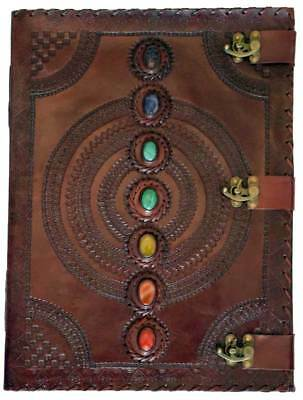 """13-1/2""""x18"""" Leather Chakra Stones Wiccan Spell Book Latched Journal 180 Blank"""