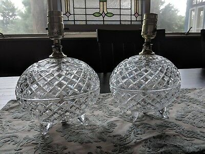 Vintage Pair Of Pressed Glass Boudoir Lamps