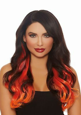 Long Straight 3-Piece Ombre Burg/Red/Orange Hair Extensions
