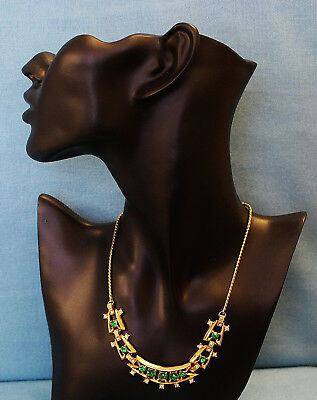 Vintage Choker Necklace Emerald Green & Ice Rhinestones Sections GT Exc Con 98