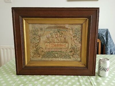 Very Interesting Late 17Th Early 18Th Century Needlework/stumpwork Altar Scene